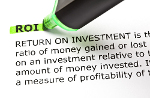 ROI (Return On Investment) highlighted in green with felt tip pen
